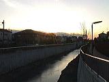 夕日と石神井川